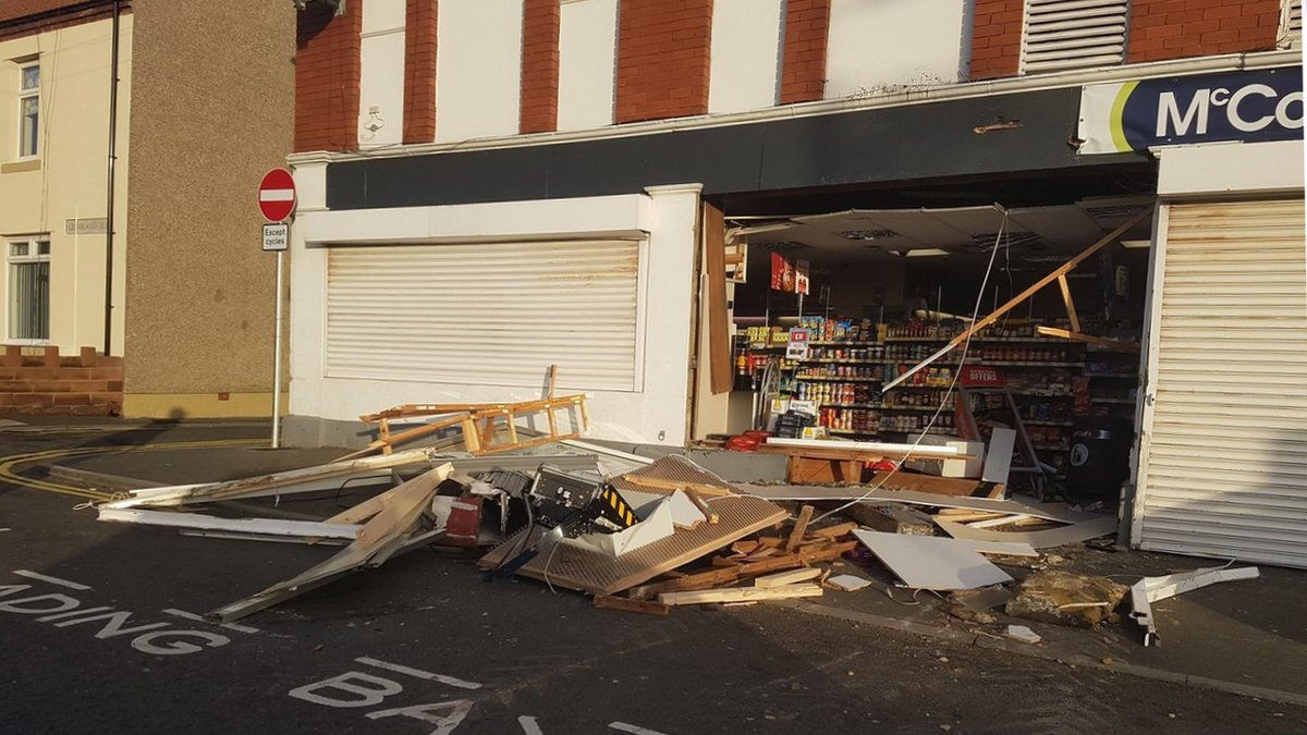 Newbiggin shop wrecked by cash machine raiders