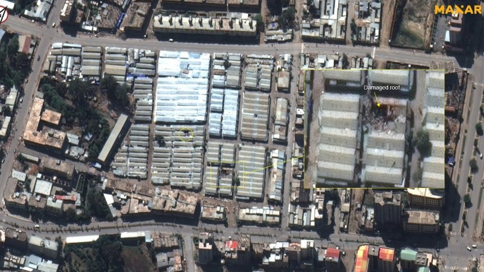 "A handout satellite image dated 30 November 2020 and made available by MAXAR Technologies shows damage to buildings at Mekelle market area, Tigray, north Ethiopia. Ethiopia""s government on 29 November 2020 said their forces they were in full control of Mekelle, northern Tigray region""s capital, after defeating the Tigray People""s Liberation Front"