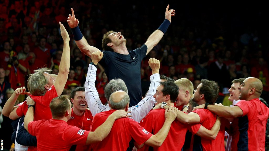 Andy Murray celebrates Great Britain's Davis Cup win in 2015