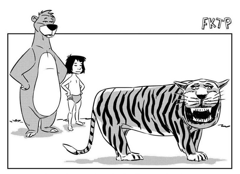 A copy of Jungle Book characters and the tiger