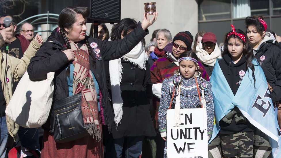 Photograph from 2015 demonstration showing protest after Tina Fontaine death