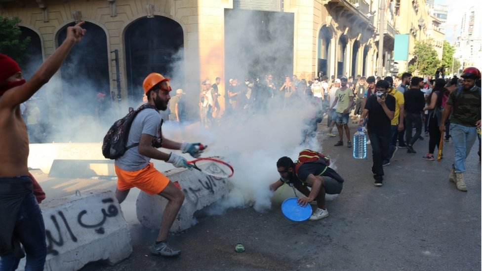 Police and protesters clashed in Beirut on Monday