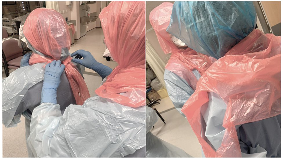 Photo of Dr Roberts helping her colleagues by securing bin bags on their heads