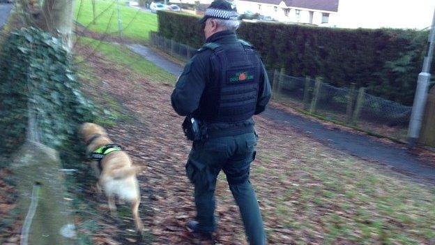 Police search the estate