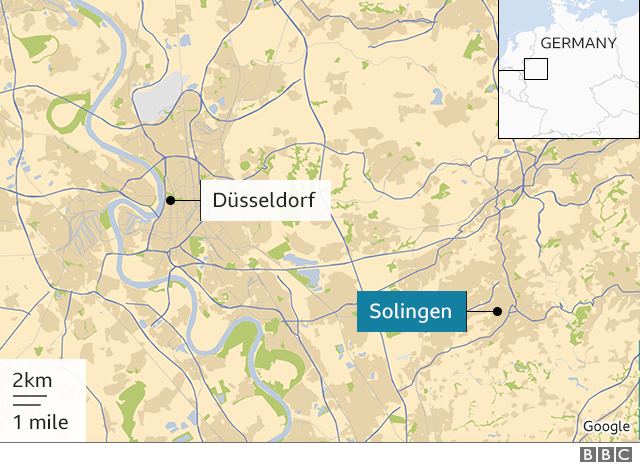 Map showing the city of Solingen in western Germany