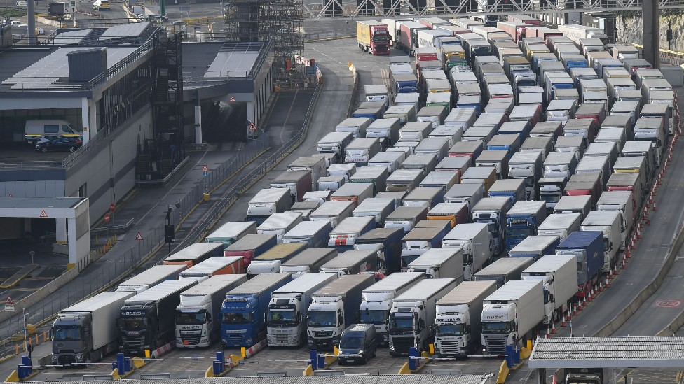 Freight lorries are seen queueing as they wait to enter the port of Dover yesterday