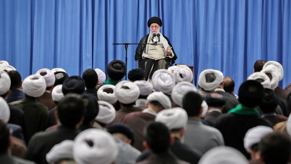 Ayatollah Ali Khamenei speaks at a meeting in Tehran on 17 September 2019