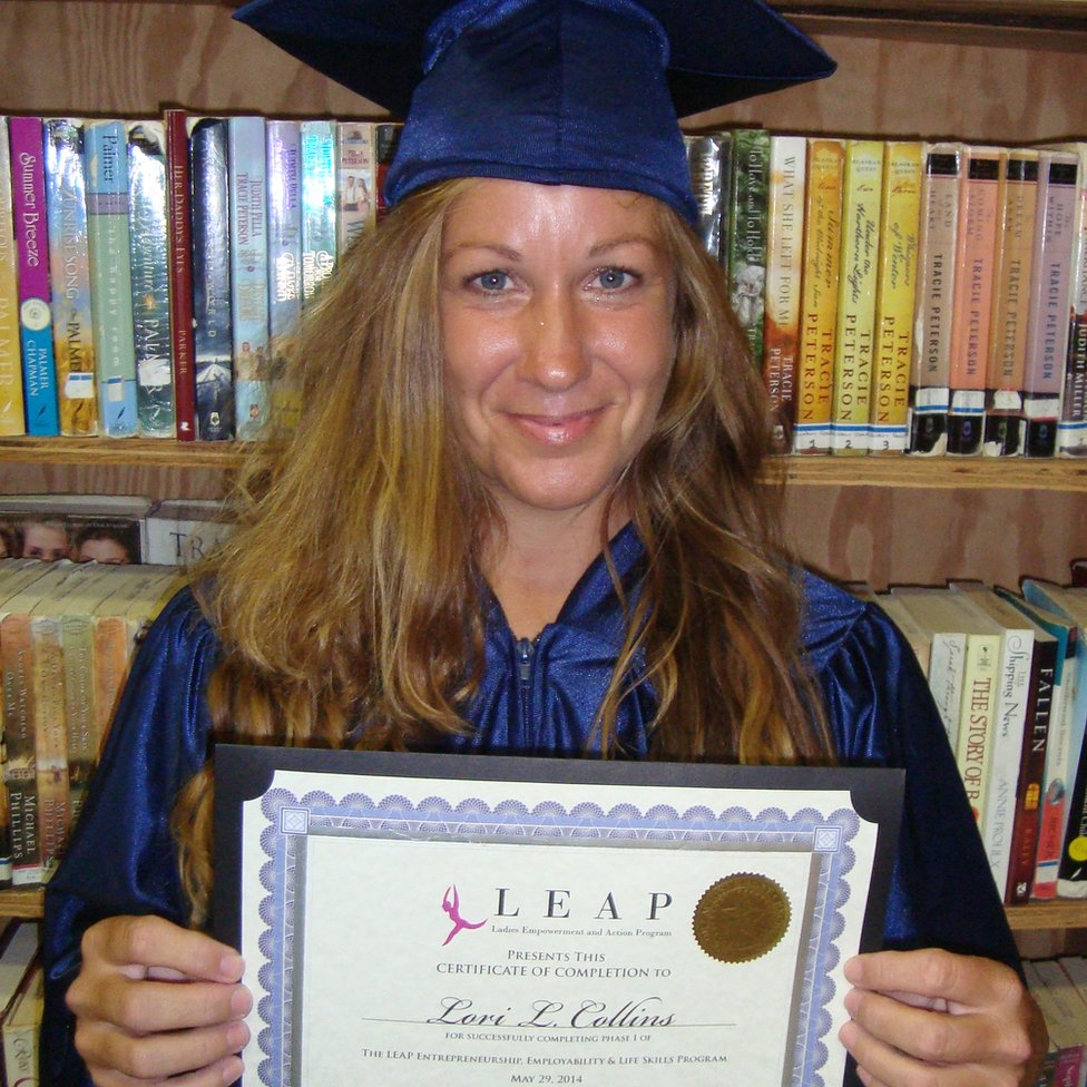 Lori Collins and her Leap graduation certificate