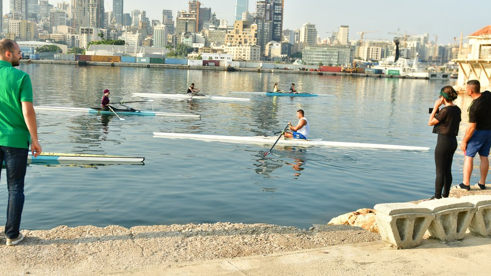 Rowers from the Lebanese Rowing Federation train in Beirut