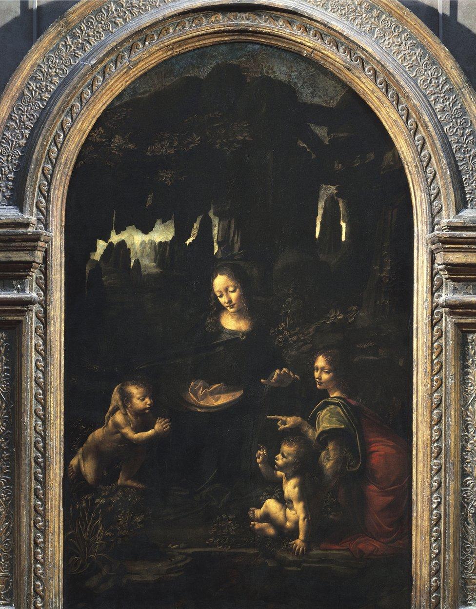 Leonardo da Vinci's first version of the Virgin of the Rocks (1483-1486) is in the Louvre