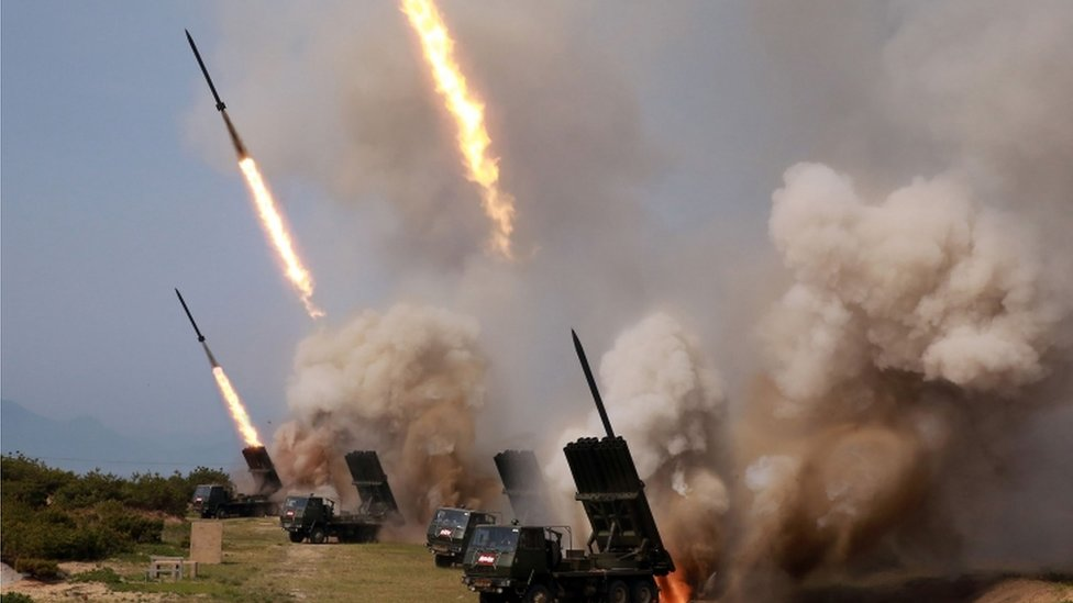 Missile launchers firing in North Korea, 4 May 2019