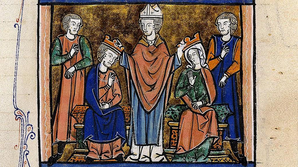 """Coronación de Fulco y Melisenda de """"Livre d'Eracles"""", Guillaume de Tyr (1130?-1186)."""