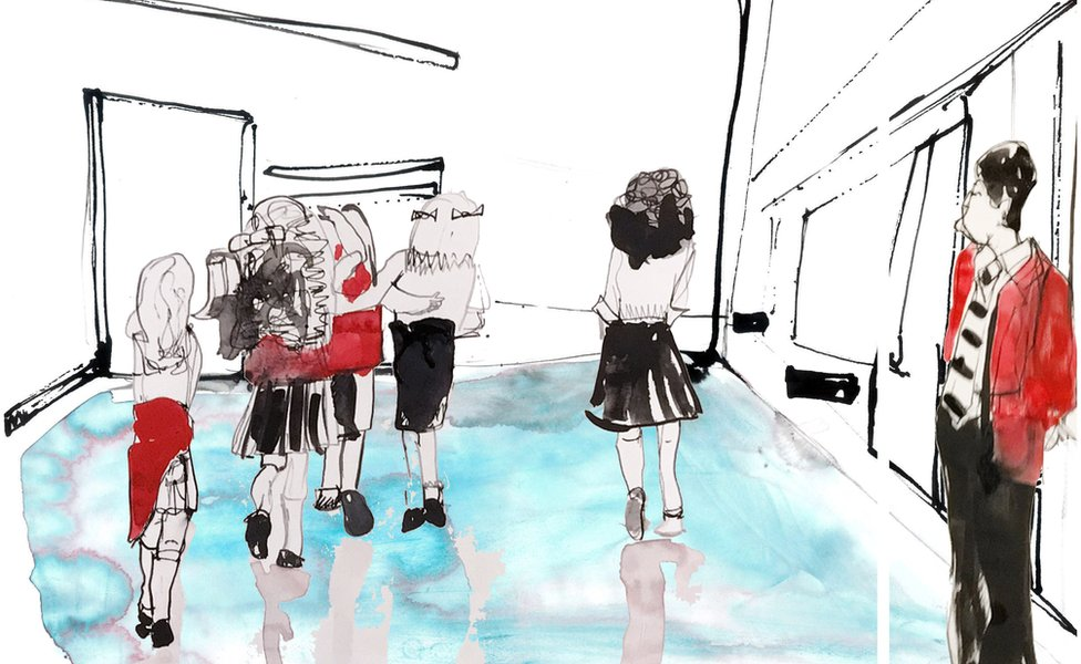 Illustration of students in a school corridor