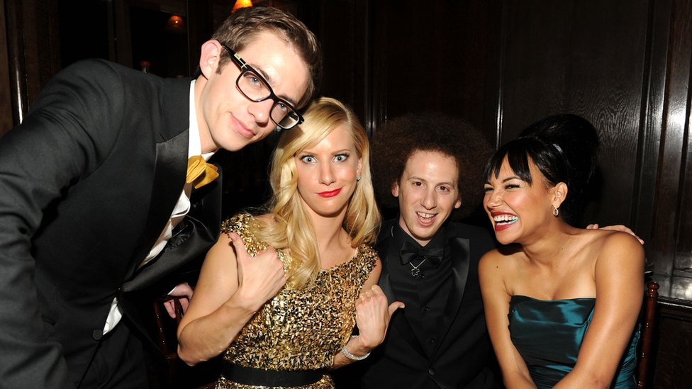 Actors Kevin McHale, Heather Morris, Josh Sussman, y Naya Rivera