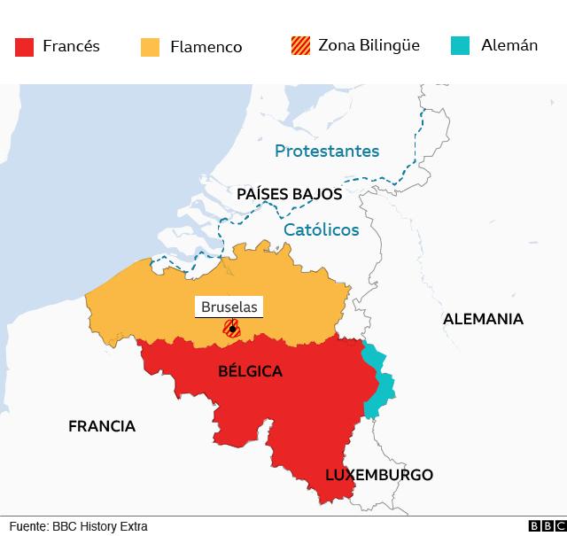 Mapa de Bélgica mostrando separación lingüística y de los alrededores, mostrando división religiosa.