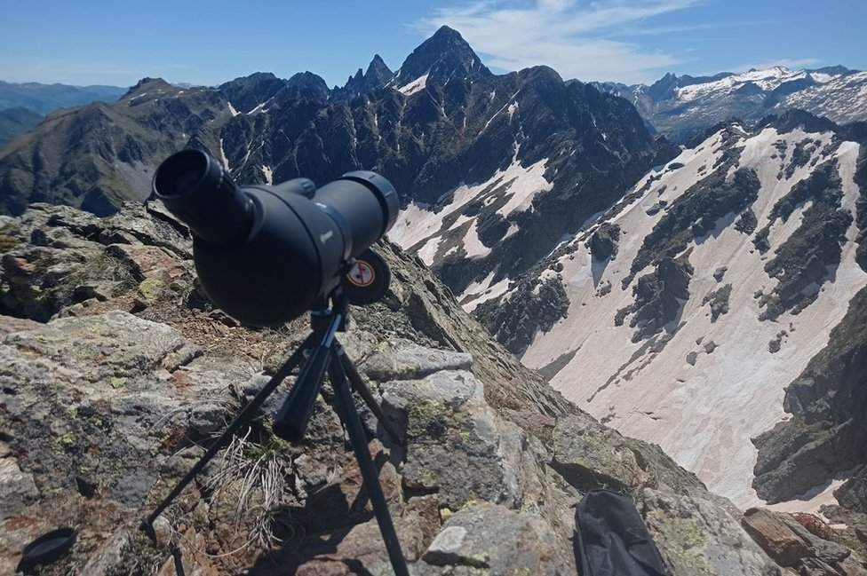 Dan's telescope set up to scour a distant mountain