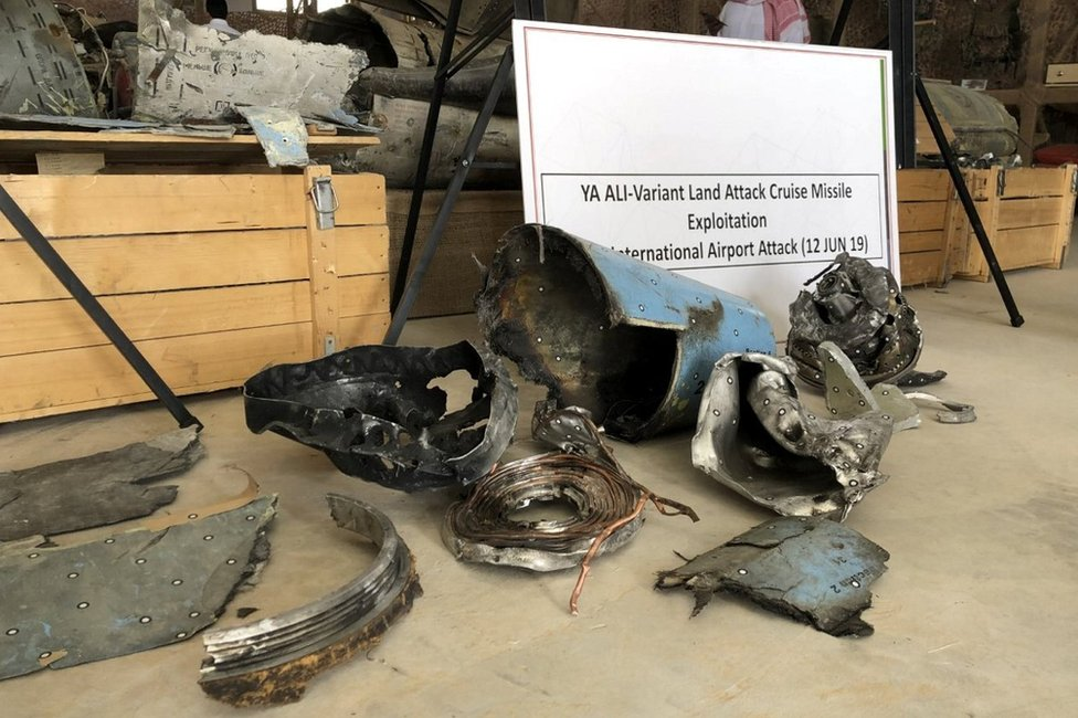 Remnants of a cruise missile fired by Yemen's Houthi rebel movement at Abha airport in Saudi Arabia (21 June 2019)