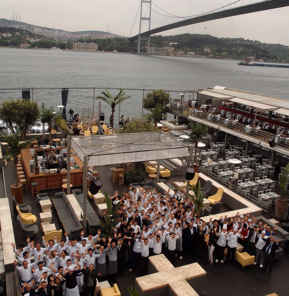 Staff of the Reina nightclub in Istanbul nightclub pose for a picture (file photo)