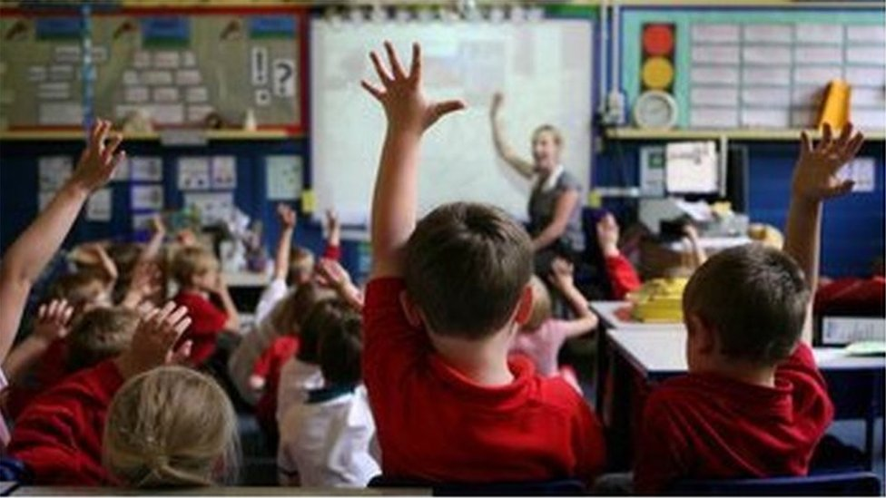 Children holding hands up in classroom