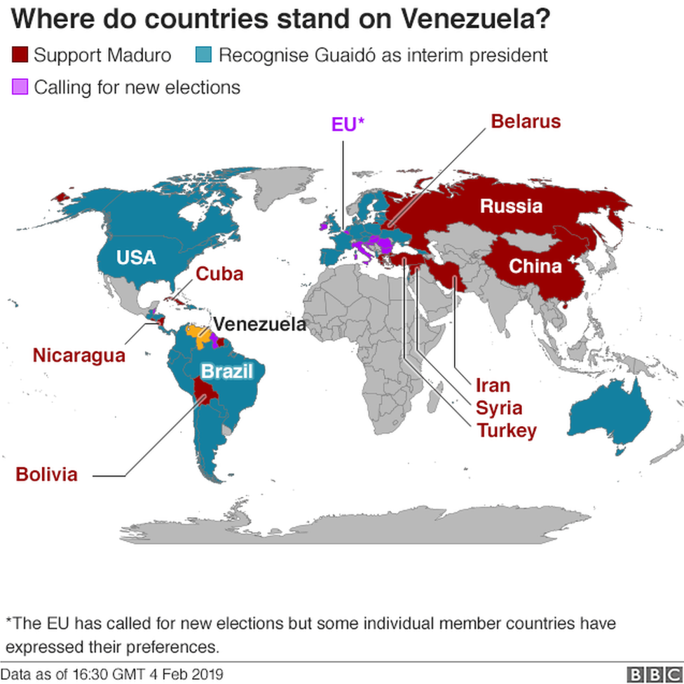 A BBC map showing world views on Venezuela