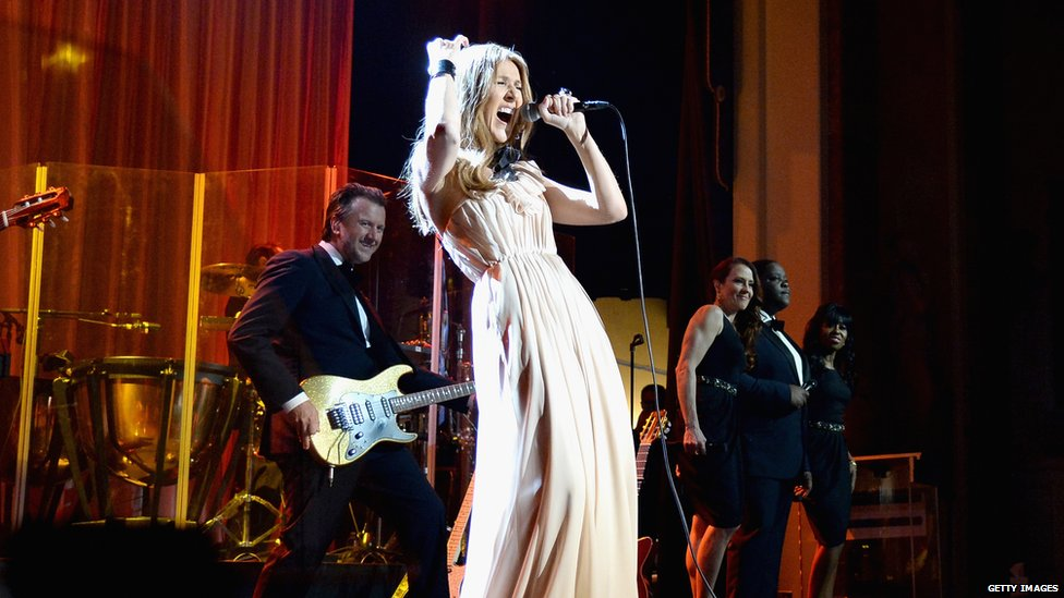 Musician Celine Dion performs onstage during the UCLA Head and Neck Surgery Luminary Awards at the Beverly Wilshire Four Seasons Hotel on 22 January 2014 in Beverly Hills, California
