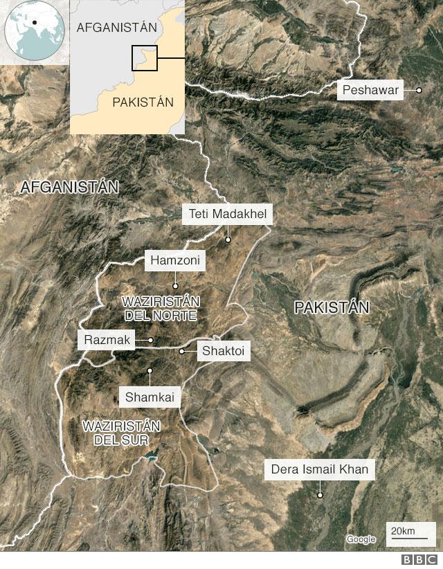 Mapa de la frontera entre Pakistán y Afganistán