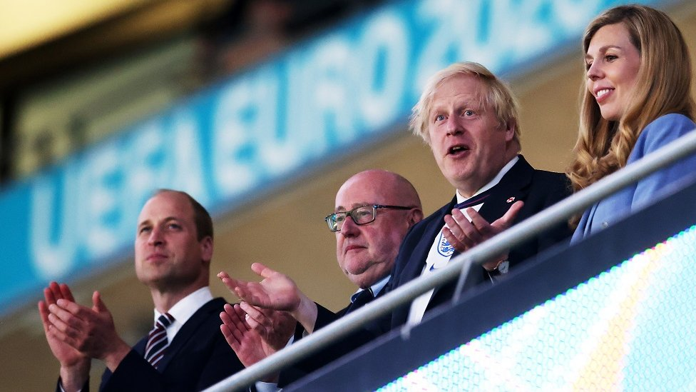 Prince William, Duke of Cambridge, English Football Association chairman Peter McCormick, British Prime Minister Boris Johnson and his wife Carrie Johnson applaud after the UEFA EURO 2020 semi final between England and Denmark in London, Britain, 07 July 2021
