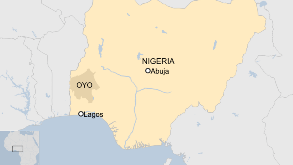Map showing location of Oyo