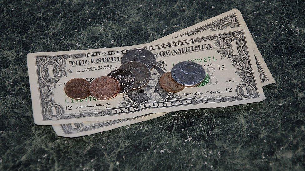 Dólares en billetes y monedas.