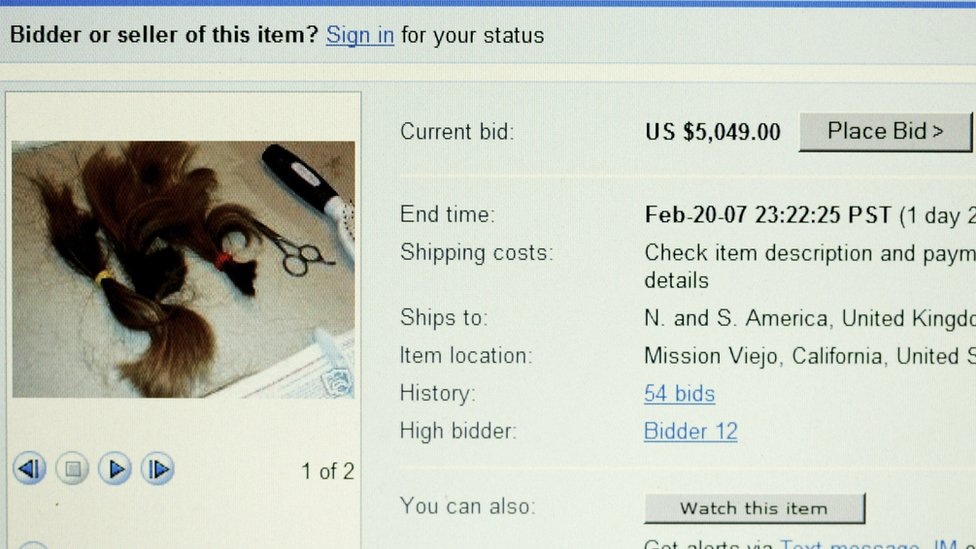 Britney's shaved hair cutting for sale on eBay
