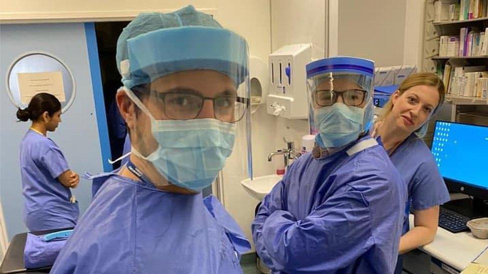 NHS staff wearing visors made by volunteers