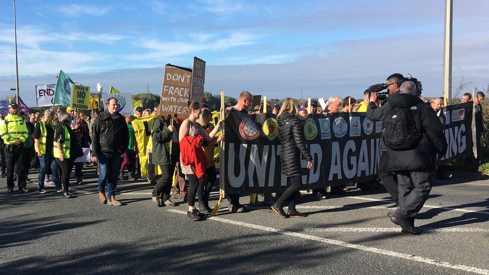 Lancashire fracking: Protest march at Little Plumpton