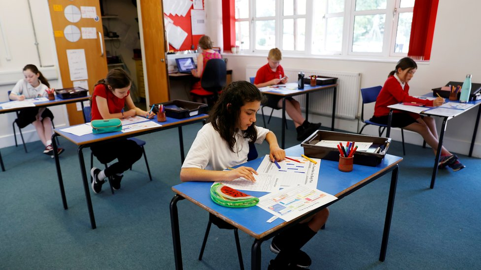 Children at distanced desks in Watlington Primary School