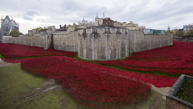 Tower of London moat filled with ceramic poppies