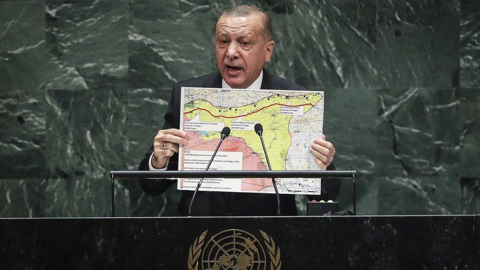 Turkish President Recep Tayyip Erdogan speaking at the United Nations in New York