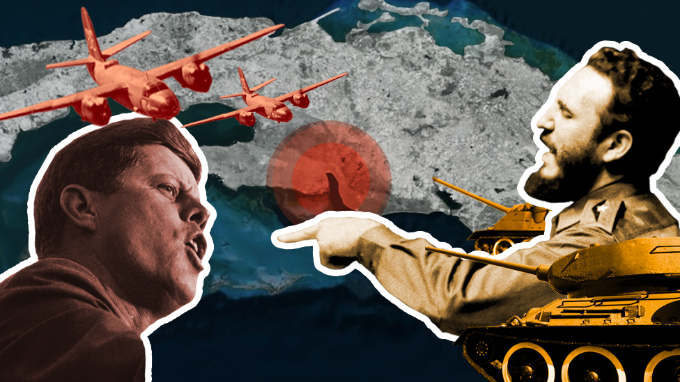 Composite image of JFK and Castro