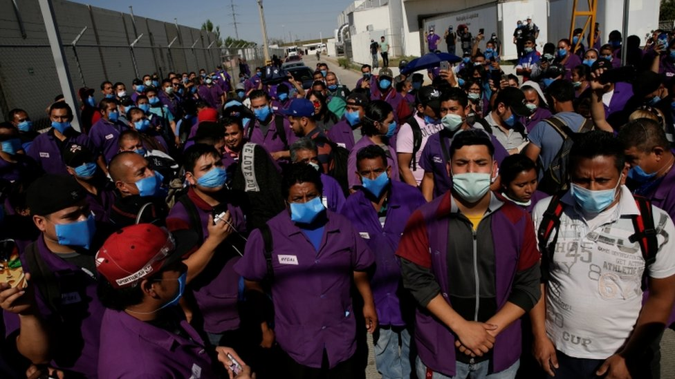 Employees of Regal hold a protest to demand the respect to the quarantine to avoid contagion from the coronavirus disease