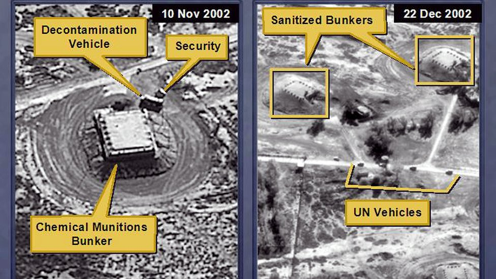 A 2003 satellite image, which the US State Department claimed showed an Iraqi chemical ammunition depot