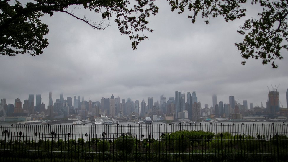 The skyline of Manhattan in New York is seen during a rainy day from Weehawken, New Jersey, U.S., May 13, 2017.
