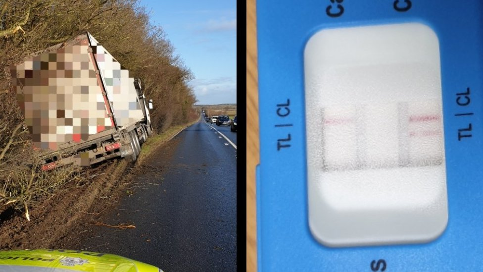 The lorry swerved off the A143 the weekend before Christmas, magistrates heard