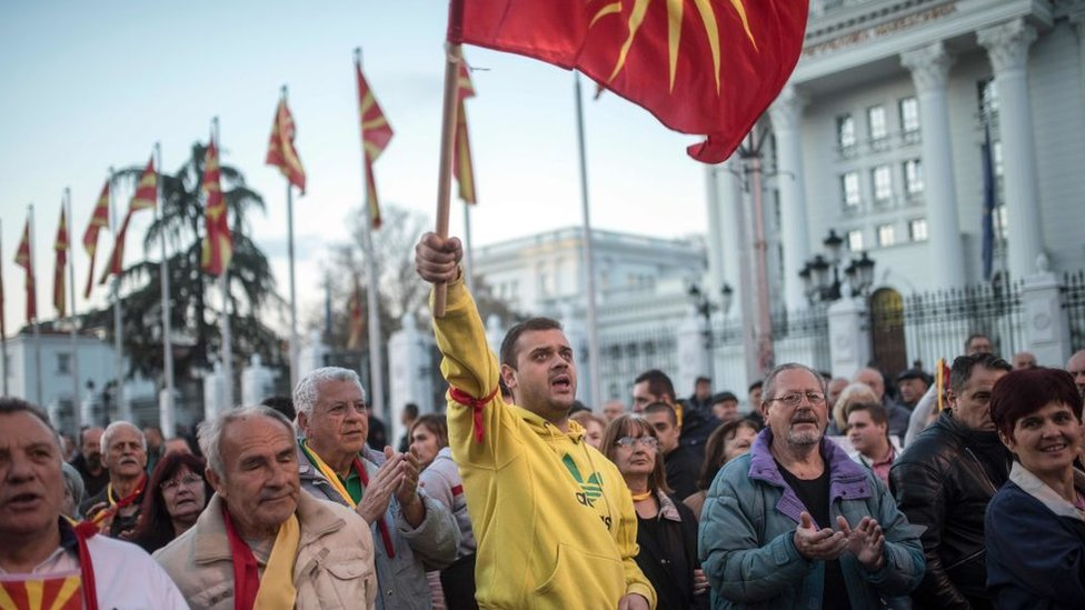 Protesters in Skopje demonstrate against the coalition deal