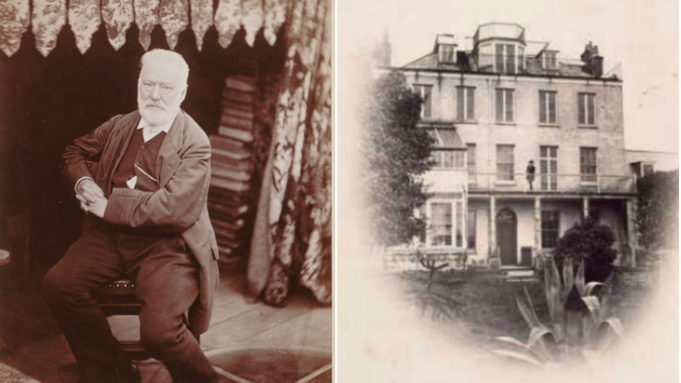 Victor Hugo pictured in his writing room, and on the balcony of Hauteville House