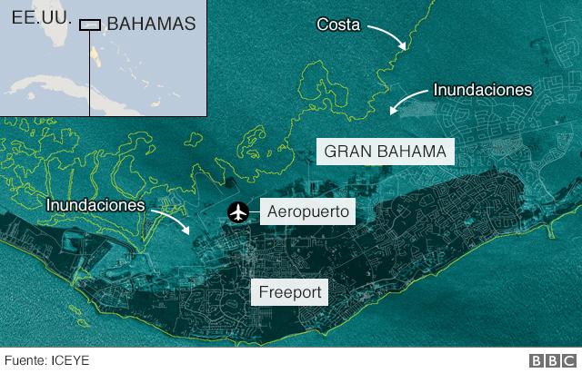 Mapa de Gran Bahama inundada