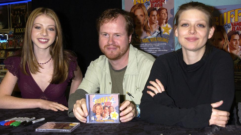 Left-right: Michelle Trachtenberg, Joss Whedon and Amber Benson