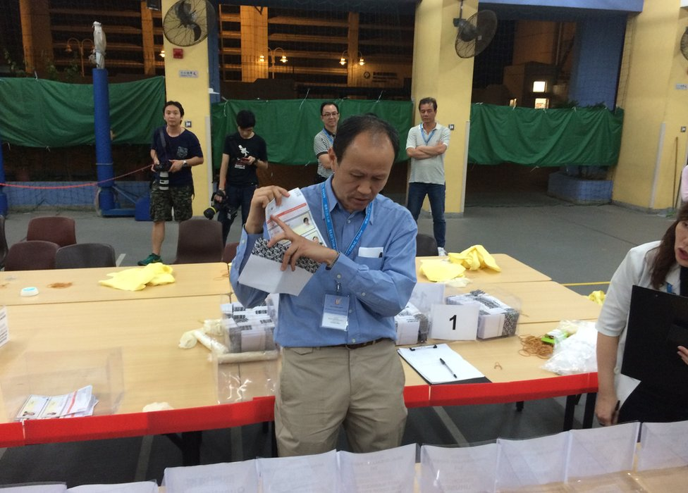 Picture of election official in Hong Kong on 22 November 2015