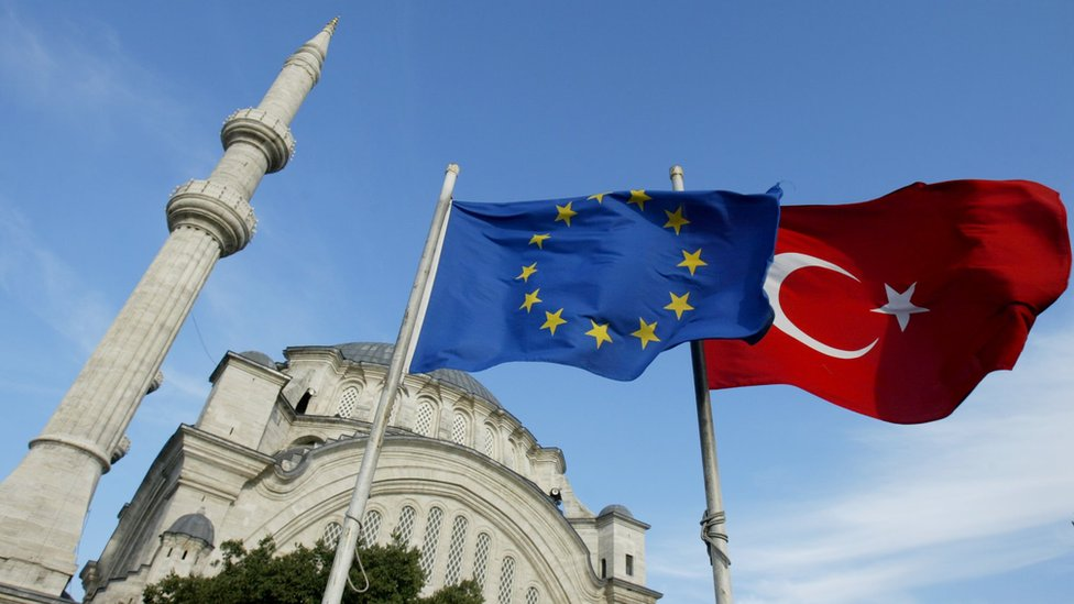 Flags of Turkey and the European Union in front of a mosque in Istanbul (file photo)