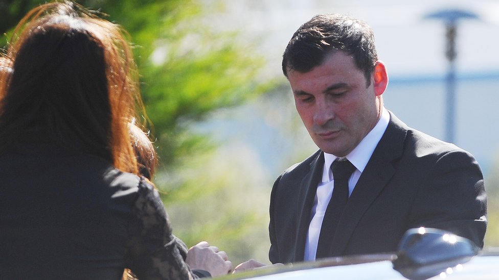Boxer Joe Calxaghe arrives at his father's funeral in Newbridge