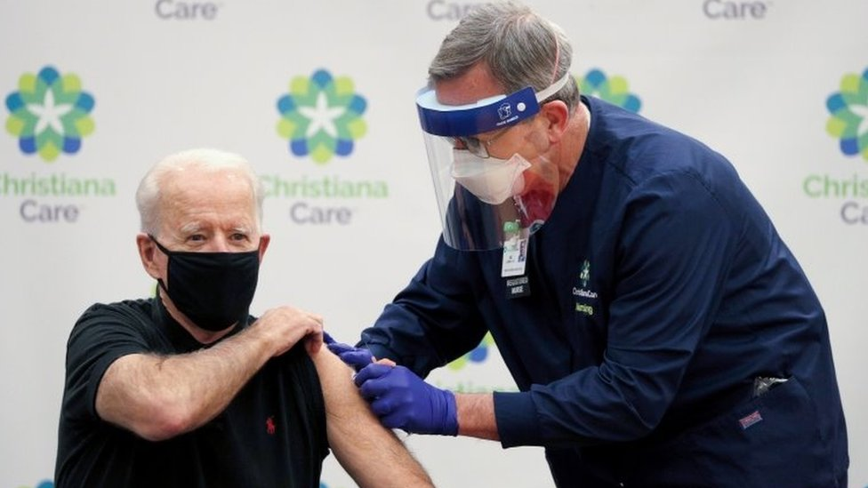 U.S. President-elect Joe Biden receives his second dose of a vaccine against the coronavirus disease (COVID-19) at ChristianaCare Christiana Hospital in Newark, Delaware