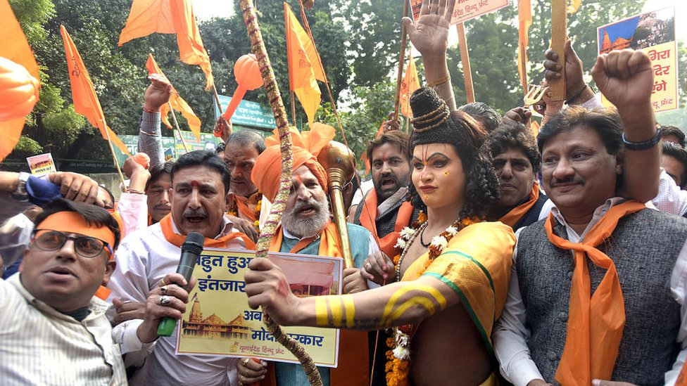 Hindus in Delhi demand the construction of Ram Mandir in Ayodhya, on the 26th anniversary of the Babri mosque demolition on December 6, 2018 India