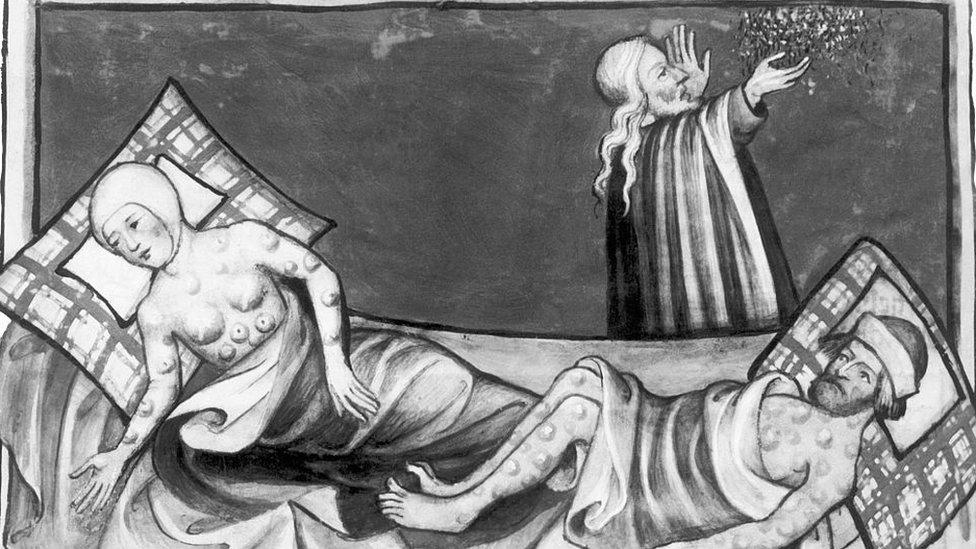 Ilustración víctimas de la peste bubónica en la Edad Media.